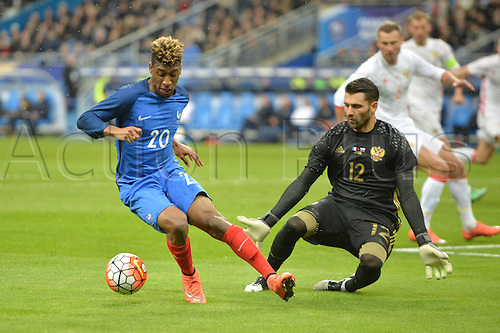 29.03.2016. Stade de France, Paris, France. International football friendly. France versus Russia.  Kingsley Coman is rebuffed by substitute keeper Yury Lodygin