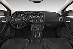 Stock photo of straight dashboard view of a 2015 Ford Focus Titanium 5 Door Hatchback Dashboard