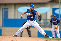 UC-Riverside Highlanders Johnny Breidenthal (17) delivers a pitch to the plate against the Cal Poly San Luis Obispo Mustangs at Riverside Sports Complex on May 26, 2018 in Riverside, California. The Cal Poly SLO Mustangs defeated the UC Riverside Highlanders 6-5. (Donn Parris/Four Seam Images)