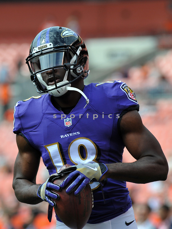 CLEVELAND, OH - JULY 18, 2016: Wide receiver Breshad Perriman #18 of the Baltimore Ravens warms up prior to a game against the Cleveland Browns on July 18, 2016 at FirstEnergy Stadium in Cleveland, Ohio. Baltimore won 25-20. (Photo by: 2017 Nick Cammett/Diamond Images)  *** Local Caption *** Breshad Perriman(SPORTPICS)