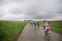 peloton through Holleweg<br /> <br /> 70th Dwars Door Vlaanderen 2015