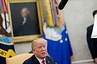 U.S. President Donald Trump speaks while meeting with Stefan Lofven, Sweden's prime minister, not pictured, in the Oval Office of the White House in Washington, D.C., U.S., on Tuesday, March 6, 2018. Trump and Lofven are looking to focus on trade and investment between the two countries and ways to achieve shared defense goals. <br /> CAP/MPI/RS<br /> &copy;RS/MPI/Capital Pictures
