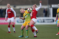 Emma Mitchell of Arsenal and Harriet Lambe of Yeovil during Arsenal Women vs Yeovil Town Ladies, FA Women's Super League FA WSL1 Football at Meadow Park on 11th February 2018