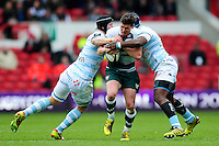 Freddie Burns of Leicester Tigers is double-tackled. European Rugby Champions Cup semi final, between Leicester Tigers and Racing 92 on April 24, 2016 at The City Ground in Nottingham, England. Photo by: Patrick Khachfe / JMP