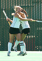 STANFORD, CA - SEPTEMBER 6: Hope Burke and Emily Henriksson celebrate a goal against Michigan State on September 6, 2010 in Stanford, California.