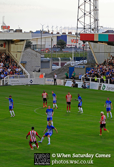 Hartlepool United 0 Sunderland 3, 20/07/2016. Victoria Park, Pre Season Friendly. Hartlepool United v Sunderland. The wind turbines across the Tees estuary at Redcar are in the background. Photo by Paul Thompson.