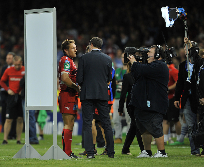 Toulon's Jonny Wilkinson interviewed after his final UK appearance in Cardiff - a 23-6 victory over Saracens <br /> <br /> Photographer Ashley Western/CameraSport<br /> <br /> Rugby Union - Heineken Cup Final - Toulon v Saracens - Saturday 24th May 2014 - Millennium Stadium - Cardiff<br /> <br /> &copy; CameraSport - 43 Linden Ave. Countesthorpe. Leicester. England. LE8 5PG - Tel: +44 (0) 116 277 4147 - admin@camerasport.com - www.camerasport.com