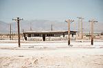 Ruins off a former lake-shore resort (spa) at the southern end of the Salton Sea, Salton Sea, Calif.