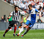 Nathan Arnold of Grimsby Town and Tom Lockyer of Bristol Rovers battle for the ball during the 2015 Vanarama Conference Promotion Final match between Grimsby Town and Bristol Rovers at Wembley Stadium, London<br /> Picture by David Horn/eXtreme aperture photography +44 7545 970036<br /> 17/05/2015