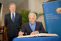On April 25, 2009, French singer Charles Aznavour was made an officer of the Ordre national du Québec at a ceremony presided by Premier Jean Charest at the Montreal Museum of Fine Arts.<br /> PHOTO :  Agence Quebec presse