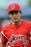 Lowell Spinners shortstop Tzu-Wei Lin #7 during a game versus the Hudson Valley Renegades at LeLacheur Park in Lowell, Massachusetts on August 18, 2013.  (Ken Babbitt/Four Seam Images)