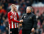Chris Wilder manager of Sheffield Utd enjoys the win with Oli McBurnie of Sheffield Utd during the Premier League match at Bramall Lane, Sheffield. Picture date: 7th March 2020. Picture credit should read: Simon Bellis/Sportimage