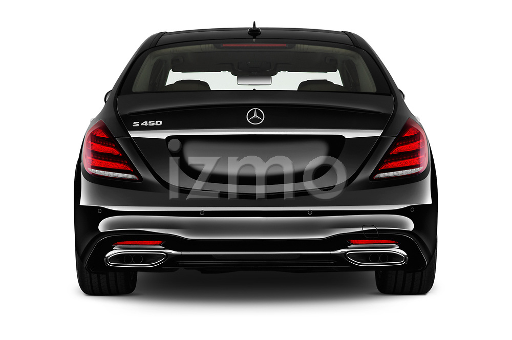 Straight rear view of 2018 Mercedes Benz S-Class 450 4 Door Sedan Rear View  stock images