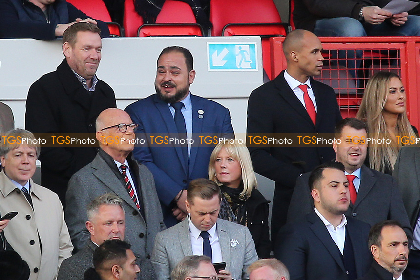 Charlton's new Chairman, Matt Southall (Top, far right) looks around the ground while new owner, His Excellency Tahnoon Nimer (standing next to him) on his first visit to see a match at Charlton seems in a very cheerful mood  during Charlton Athletic vs Barnsley, Sky Bet EFL Championship Football at The Valley on 1st February 2020