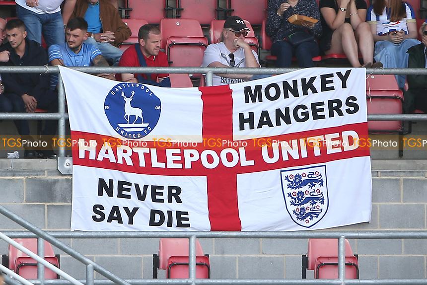 Hartlepool United Monkey Hangers flag during Dagenham & Redbridge vs Hartlepool United, Vanarama National League Football at the Chigwell Construction Stadium on 14th September 2019