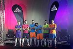 Real Madrid's Asier Illarramendi, Alvaro Arbeloa, Alvaro Morata, Marcelo Vieira, Xabi Alonso and Garet Bale during the presentation of the new collection of Adidas shoes Samba Pack .November 21,2013. (ALTERPHOTOS/Acero)