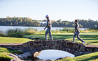 Thomas Pieters and Rory McIlroy (Team Europe) on the 7th during the Saturday morning Foursomes at the Ryder Cup, Hazeltine national Golf Club, Chaska, Minnesota, USA.  01/10/2016<br /> Picture: Golffile | Fran Caffrey<br /> <br /> <br /> All photo usage must carry mandatory copyright credit (&copy; Golffile | Fran Caffrey)