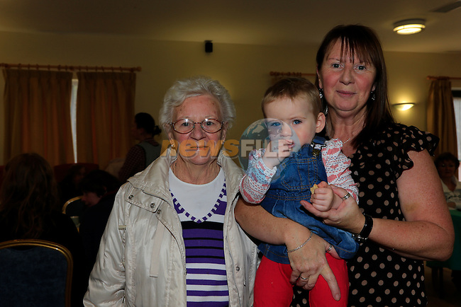 Nancy Mohan, Madison Smith and Pat Everitt at the coffee morning in the Drogheda community service centre.<br /> Picture: Fran Caffrey www.newsfile.ie