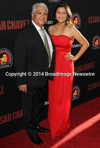 Pictured: Paul Chavez, Daniela Chavez<br /> Mandatory Credit &copy; Frederick Taylor/Broadimage<br /> Premiere Of Pantelion Films And Participant Media's &quot;Cesar Chavez&quot; - Arrivals<br /> <br /> 3/20/14, Hollywood, California, United States of America<br /> <br /> Broadimage Newswire<br /> Los Angeles 1+  (310) 301-1027<br /> New York      1+  (646) 827-9134<br /> sales@broadimage.com<br /> http://www.broadimage.com