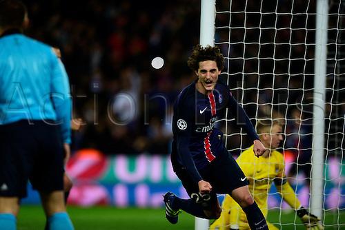 06.04.2016. Paris, France. UEFA CHampions League, quarter-final. Paris St Germain versus Manchester City.  Adrien Rabiot ( PSG ) wheels away to celebrate