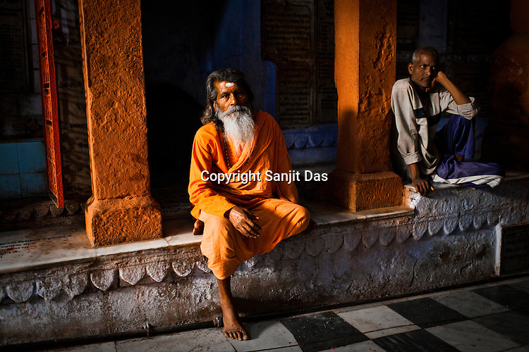 A Hindu sadhu (holy man) is seen at the Gauri Kedareshwar temple on Kedar Ghat in the ancient city of Varanasi in Uttar Pradesh, India. Photograph: Sanjit Das/Panos