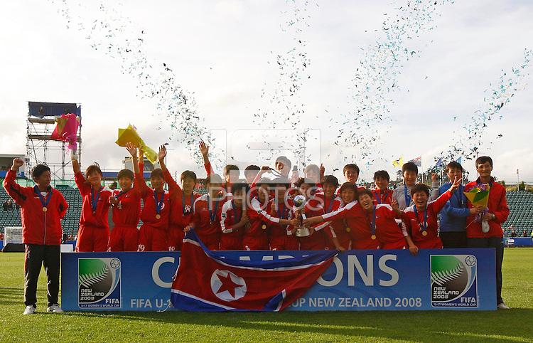 Korea DPR celebrate with the World Cup..FIFA U17 Women's World Cup Final, USA v Korea DPR, Albany Stadium, Auckland, New Zealand, Sunday 16 November 2008. Photo: Renee McKay/PHOTOSPORT