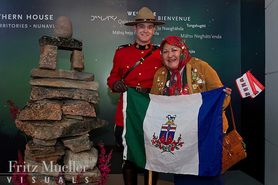 RCMP Mounties in Red Serge attend Yukon Day at Canada's Northern House at the 2010 Olympics