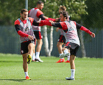 Billy Sharp of Sheffield Utd and Stefan Scougall of Sheffield Utd during the Sheffield Utd training session at the Shirecliffe Training Complex , Sheffield. Picture date: September 29th, 2016. Pic Simon Bellis/Sportimage