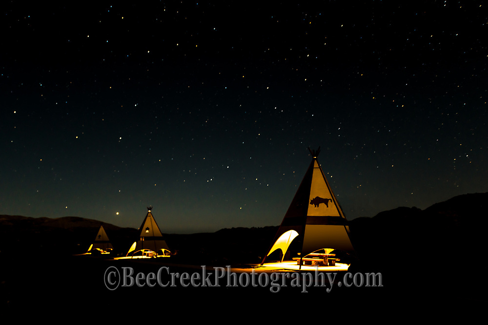We always like these picnic area in Big Bend State Park so we decided to come back and photograph them after it was dark but to make sure you could tell what they were we lit up each one of the teepees and then you can see them and stars in the sky. Big bend area is known as a dark skies area so you should see a lot of light pollution here.