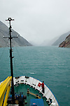The Arctic expedition ship sails through the Prins Christian Sound in Greenland. The sound is a safer passage around the southern tip of Greenland.