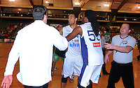 Mika Vukona has words with Jets coach Ryan Weisenberg after a scuffle breaks out. NBL  - Manawatu Jets  v Nelson Giants at Arena Manawatu, Palmerston North, New Zealand on Saturday, 25 June 2011. Photo: Dave Lintott / lintottphoto.co.nz