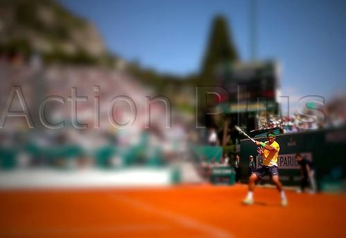 2011-04-13 ..Monte Carlo Monaco.. Monte Carlo Rolex Masters...Rafael Nadal battles with Jarkko Nieminen He won  6-2, 6-2.  ........