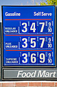 A close up of Chevron gas price list in 2007. Mountain View, California, USA