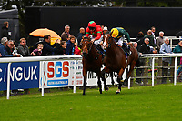 Winner of M J Church British EBF Novice Stakes (Plus 10) (Div 2),  Bullingdon (yellow cap) ridden by Sean Levey and trained by Richard Hannon during Afternoon Racing at Salisbury Racecourse on 7th August 2017