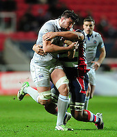 Elliott Stooke of Bath Rugby takes on the Bristol Rugby defence. European Rugby Challenge Cup match, between Bristol Rugby and Bath Rugby on January 13, 2017 at Ashton Gate Stadium in Bristol, England. Photo by: Patrick Khachfe / Onside Images