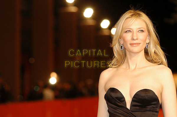 "CATE BLANCHETT.Premiere for film  ""Elizabeth: The Golden Age"" during the .Rome International Film Festival, Rome, Italy, .October 19th 2007..portrait headshot strapess black dress cleavage.CAP/CAV.©Luca Cavallari/Capital Pictures."
