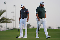 Sergio Garcia (ESP) and Shane Lowry (IRL) on the 11th during Round 2 of the Saudi International at the Royal Greens Golf and Country Club, King Abdullah Economic City, Saudi Arabia. 31/01/2020<br />