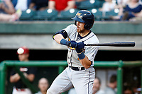Brett Sullivan (7) of the Montgomery biscuits swings at a pitch during the game against the Chattanooga Lookouts on May 26, 2018 at AT&T Field in Chattanooga, Tennessee. (Andy Mitchell/Four Seam Images)