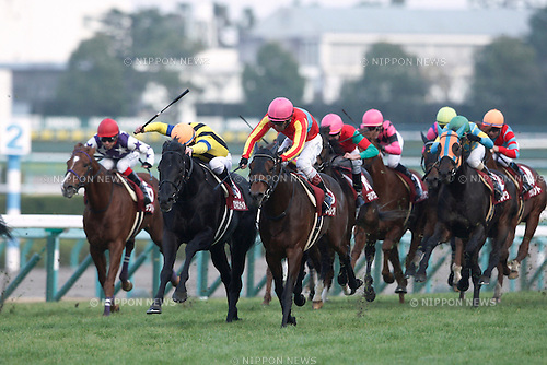 (L-R) Sunrise Major (Kenichi Ikezoe), Rosa Gigantea ( Mirco Demuro), Dance Director (Suguru Hamanaka), Meiner Aurato ( Hugh Bowman), Smart Orion (Koshiro Take), Arma Waioli (Masaki Katsuura),<br /> DECEMBER 26, 2015 - Horse Racing :<br /> Rosa Gigantea ridden by Mirco Demuro wins the Hanshin Cup at Hanshin Racecourse in Hyogo, Japan. (Photo by Eiichi Yamane/AFLO)
