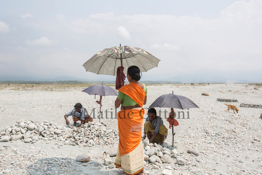 India – West Bengal: Former tea workers collecting pebbles and stones along the Diana riverbed at Red Bank Tea Estate, in the Dooars region. The garden, which houses 888 workers out of a population of 5,000 people, has been closed since 2013. With no more income, food rations and health services, its workers resorted to stonecrushing in order to survive.