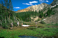 Hiking the White Clouds Wilderness. hikers. Idaho United States Sawtooth National Recreation ARea.