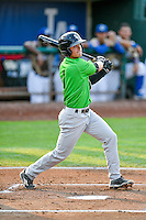 Mitch Roman (1) of the Great Falls Voyagers follows through on his swing against the Ogden Raptors during the Pioneer League game at Lindquist Field on August 18, 2016 in Ogden, Utah. Ogden defeated Great Falls 10-6. (Stephen Smith/Four Seam Images)
