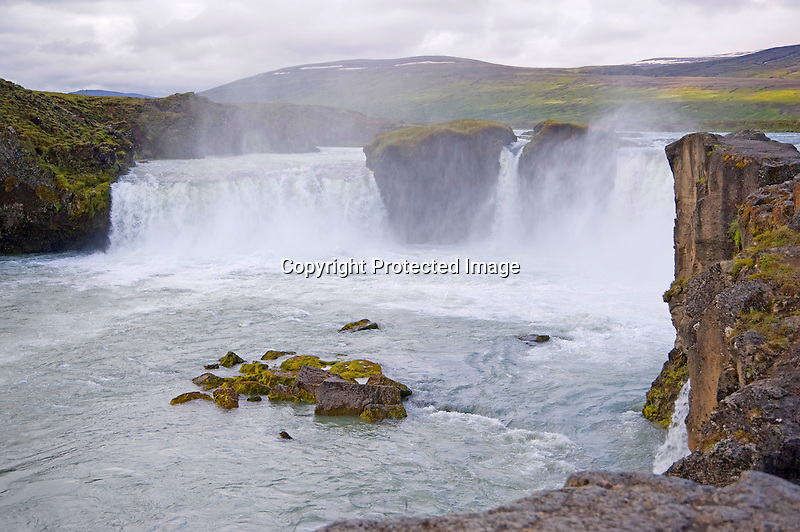 Horseshoe Shaped Powerful Godafoss Waterfall in North Iceland