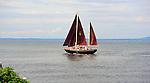A Ketch Sailing off the Coast of Maine, USA