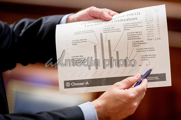 """United States Secretary of Veterans Affairs (VA) Robert Wilkie holds up a US Department of Veterans Affairs document titled """"Hydroxychloroquine Timeline and Utilization"""" as he speaks with Chairwoman United States Representative Debbie Wasserman Schultz (Democrat of Florida), right, before a US House Appropriations Subcommittee on Military Construction, Veterans Affairs, and Related Agencies hearing on Capitol Hill in Washington, Thursday, May 28, 2020, on the Department of Veterans Affairs response to COVID-19. <br /> Credit: Andrew Harnik / Pool via CNP/AdMedia"""