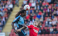 Marcus Bean of Wycombe Wanderers wins the ball in the air during the Sky Bet League 2 match between Leyton Orient and Wycombe Wanderers at the Matchroom Stadium, London, England on 19 September 2015. Photo by Andy Rowland.