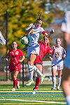 29 September 2013: Stony Brook University Seawolves Forward Larissa Nysch, a Senior from Dresher, PA, battles University of Vermont Catamount Forward/Defender Haley Marks, a Senior from Penfield, NY, during game action at Virtue Field in Burlington, Vermont. The Lady Seawolves defeated the Catamounts 2-1 in America East play. Mandatory Credit: Ed Wolfstein Photo *** RAW (NEF) Image File Available ***