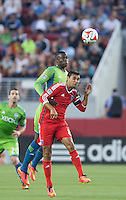 Santa Clara, California - August 2, 2014: San Jose Earthquakes face off against Seattle Sounders FC at Levi's Stadium on Saturday. San Jose defeated Seattle 1-0.