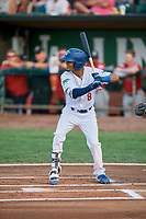 Jeremy Arocho (8) of the Ogden Raptors bats against the Billings Mustangs at Lindquist Field on August 18, 2018 in Ogden, Utah. Billings defeated Ogden 6-4. (Stephen Smith/Four Seam Images)