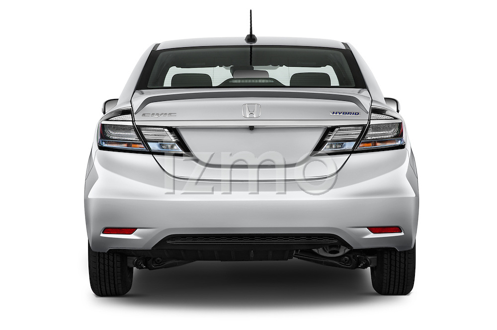 Straight rear view of a 2014 Honda Civic Hybrid Hybrid CVT 4 Door Sedan Rear View  stock images